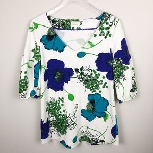 Deletta V-Neck Tunic Floral Top
